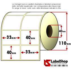 Rotolo da 3000 etichette adesive mm 33x40 Carta Vellum 2 piste anima 40