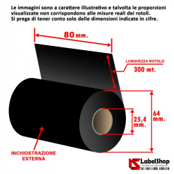 Ribbon H 80 mm x 300 m. ink out WAX - Nastro carbongrafico a base cera per stampa a trasferimento termico (Ribbon in Cera)