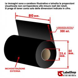 nastro carbongrafico ribbon 80x300 cera resina trasferimento termico polliammide raso rotolo rolls