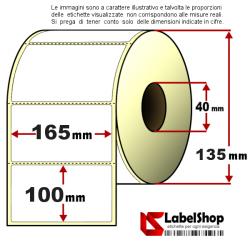 Rotolo da 1000 etichette adesive mm 165x100 Carta Termica anima 40 con pretaglio