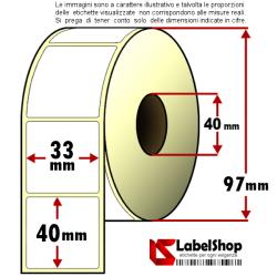Rotolo da 1000 etichette adesive mm 33x40 Carta Vellum 1 pista anima 40