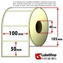 Rotolo da 1000 etichette adesive mm 100x50 Carta Vellum 1 pista anima 40