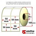 Rotolo da 2000 etichette adesive mm 50x50 Carta Vellum trasferimento termico 2 piste anima 40