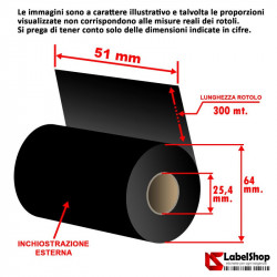 Ribbon H 51 mm x 300 m. inchiostrazione esterna OUT WAX base cera per stampa a trasferimento termico (Ribbon in Cera)