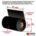 Ribbon H 51 mm x 300 m. inchiostrazione esterna OUT WAX base cera per stampa a trasferimento termico (Ribbon in Cera)