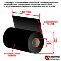Ribbon 110x74 ink out Resina textile - foil per stampa a trasferimento termico su etichette tessili supra