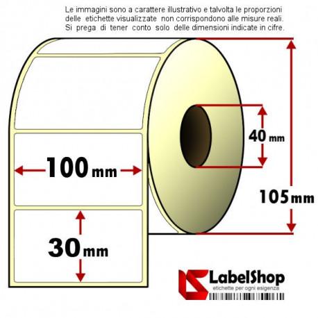 Rotolo da 1500 etichette adesive mm 100x30 Termiche 1 pista anima 40