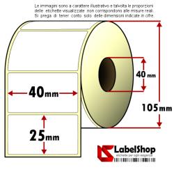 Rotolo da 2000 etichette adesive mm 40x25 Carta Vellum 1 pista anima 40