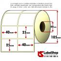 Rotolo da 4000 etichette adesive mm 40x25 Carta Vellum 2 piste anima 40