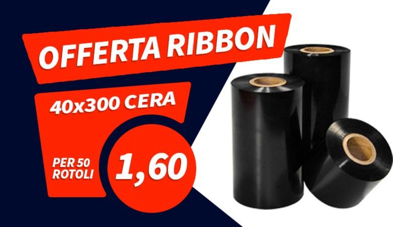 Offerta rotoli ribbon cera 40mm x 300m scontati